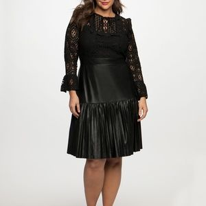 Eloquii Lace Dress with Pleated Faux Leather Skirt